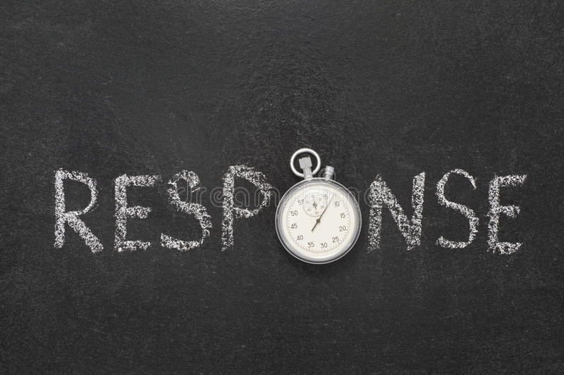Response word watch. Response word handwritten on chalkboard with vintage precise stopwatch used instead of O royalty free stock photography