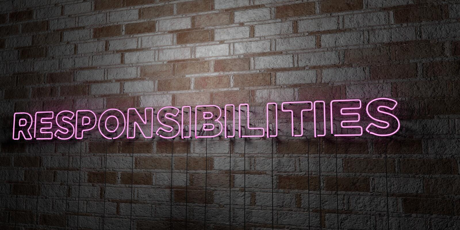 RESPONSIBILITIES - Glowing Neon Sign on stonework wall - 3D rendered royalty free stock illustration. Can be used for online banner ads and direct mailers royalty free illustration