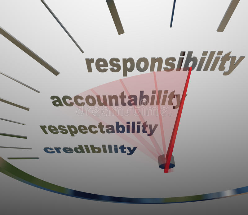 Responsibility Accountability Level Measuring Reputation Duty. A guage or speedometer measuring your increasing or improving level of Responsibility vector illustration