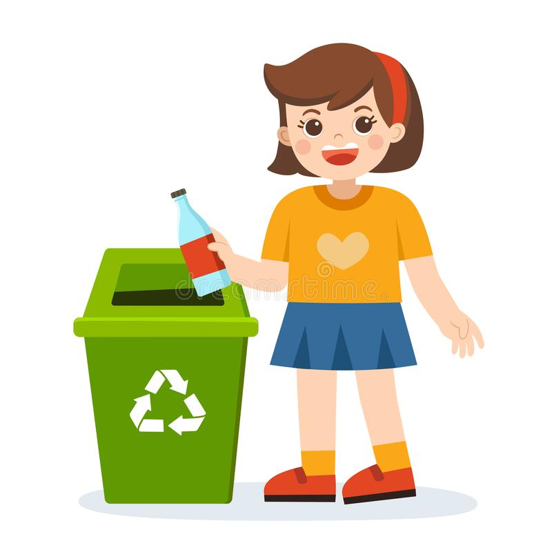 Responsibility of young little girl throwing plastic bottle in recycling trash bin. royalty free illustration