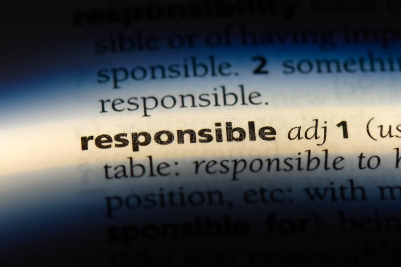Responsible. Word in a dictionary.  concept royalty free stock images