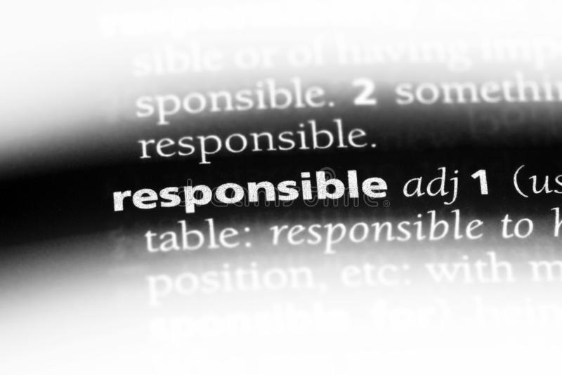 Responsible. Word in a dictionary.  concept stock images