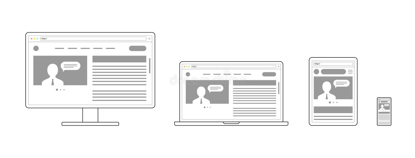 Responsive adaptive web design. Website open on different devices. Computer PC monitor, laptop, tablet, smartphone. Mobile. Flat minimalistic modern digital vector illustration