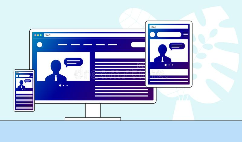 Responsive adaptive web design. Website open on different devices. Computer PC monitor, tablet, smartphone mobile. Flat. Minimalistic modern digital vector vector illustration