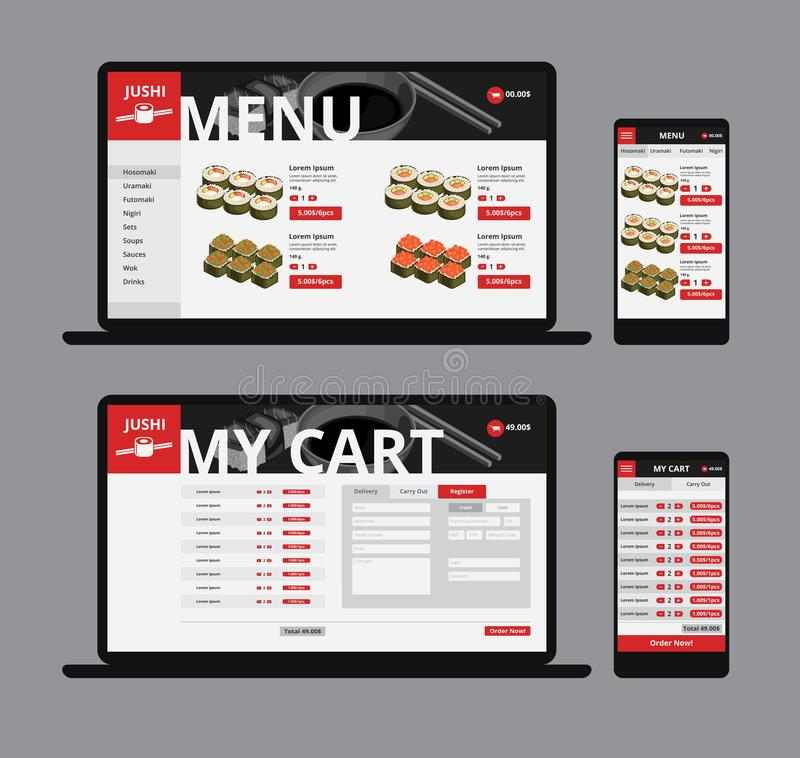 Responsive Asian Food Web Shop Template. With sushi and navigation menu on laptop and mobile isolated vector illustration royalty free illustration