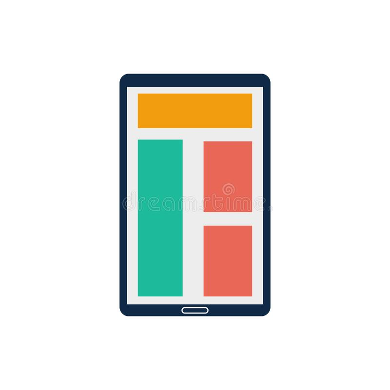 Responsive color mobile tab design icon with white background. Uses for web and print stock illustration