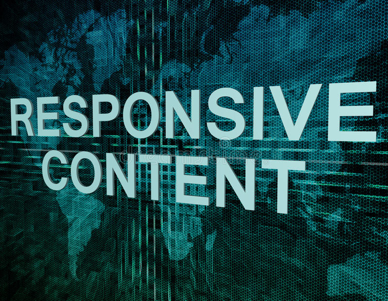 Responsive Content. Text concept on green digital world map background stock illustration