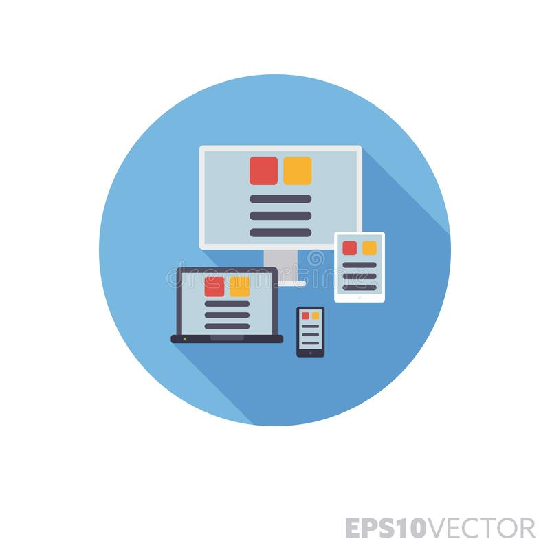 Responsive design displayed on various devices flat design long shadow vector icon. Screens of various devices displaying flexible layout flat design round icon stock illustration