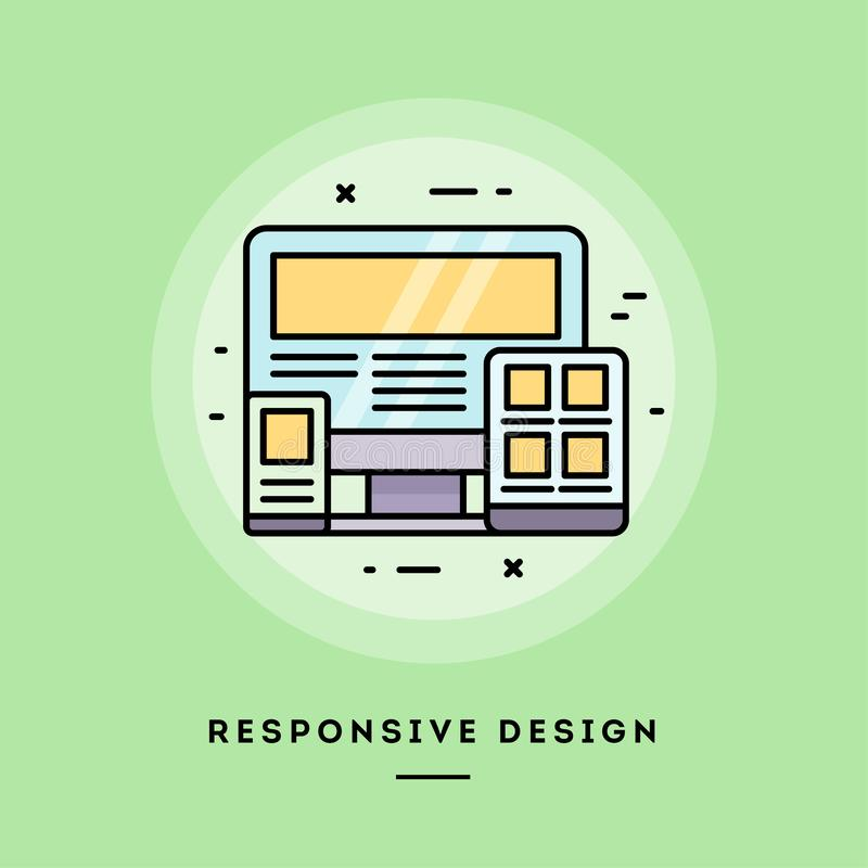 Responsive design, flat design thin line banner. Vector illustration. Responsive design, flat design thin line banner, usage for e-mail newsletters, web banners royalty free illustration
