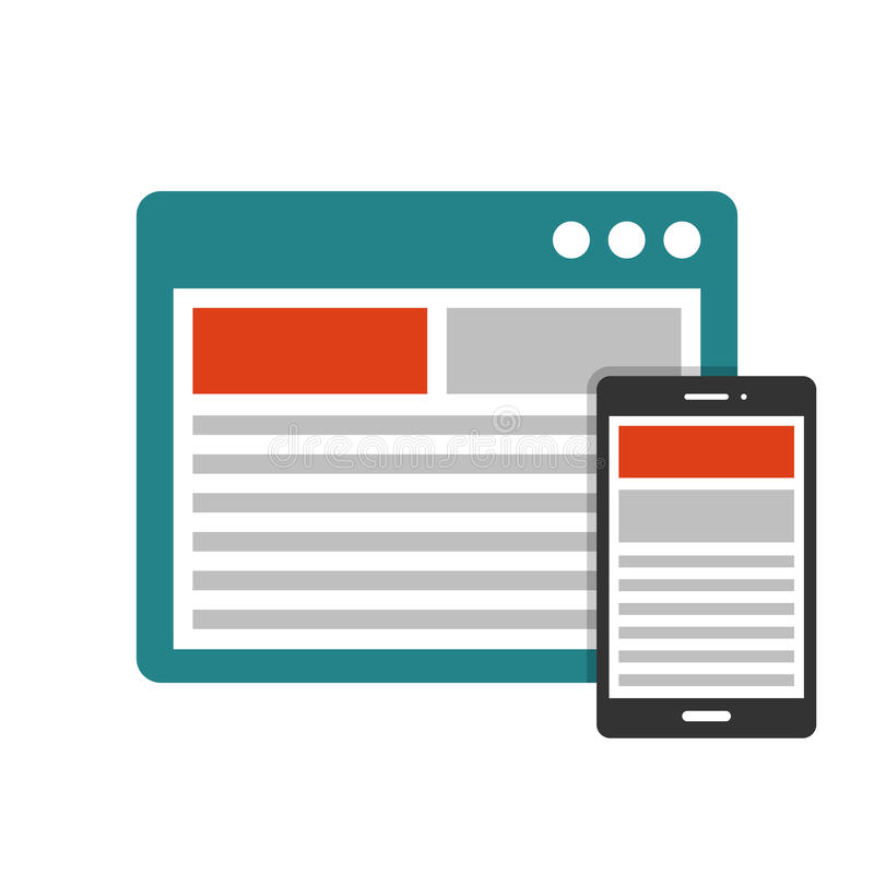 Responsive design flat icon. Responsive design in devices flat icon royalty free illustration