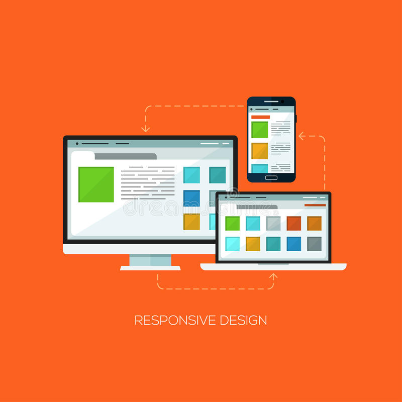 Responsive design flat web infographic technology online service application internet business concept vector. stock illustration