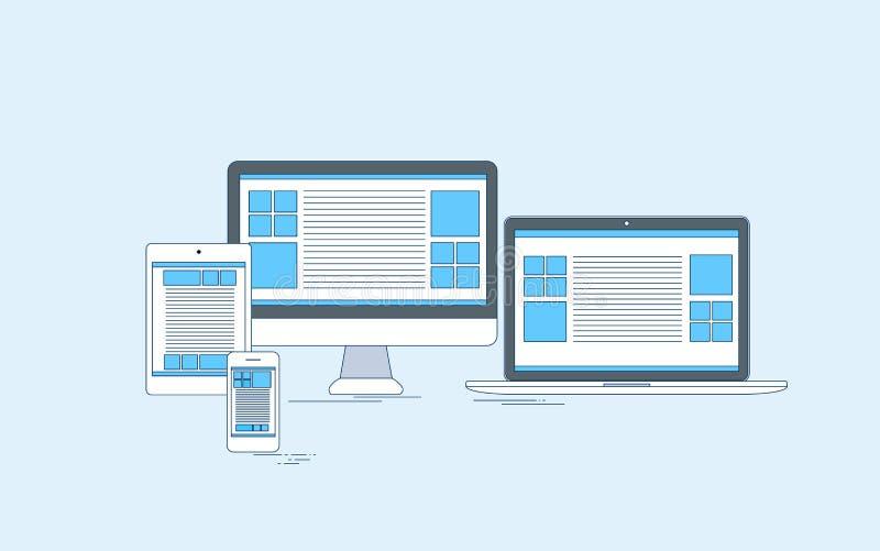 Responsive Design Laptop Phone Tablet Desktop. Device Screen Size Thin Line Vector Illustration stock illustration