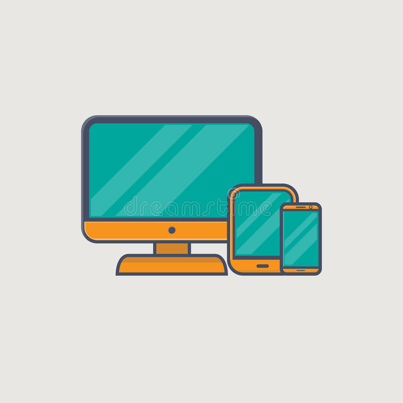 Responsive design. Line icons of computer monitor, tablet and phone in golden colors, representing responsive web site design stock illustration