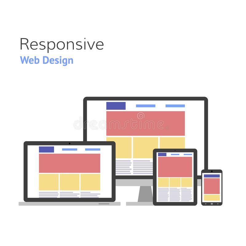 Responsive design. Web development. Vector illustration royalty free illustration