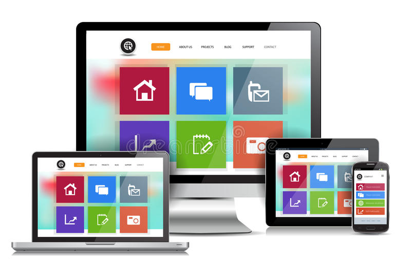 Responsive Design Website. This image is a vector file representing a responsive design website concept on various media devices royalty free illustration