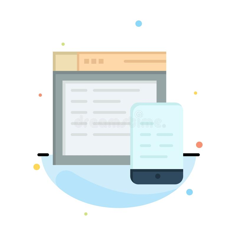 Responsive, Design, Website, Mobile Abstract Flat Color Icon Template stock illustration