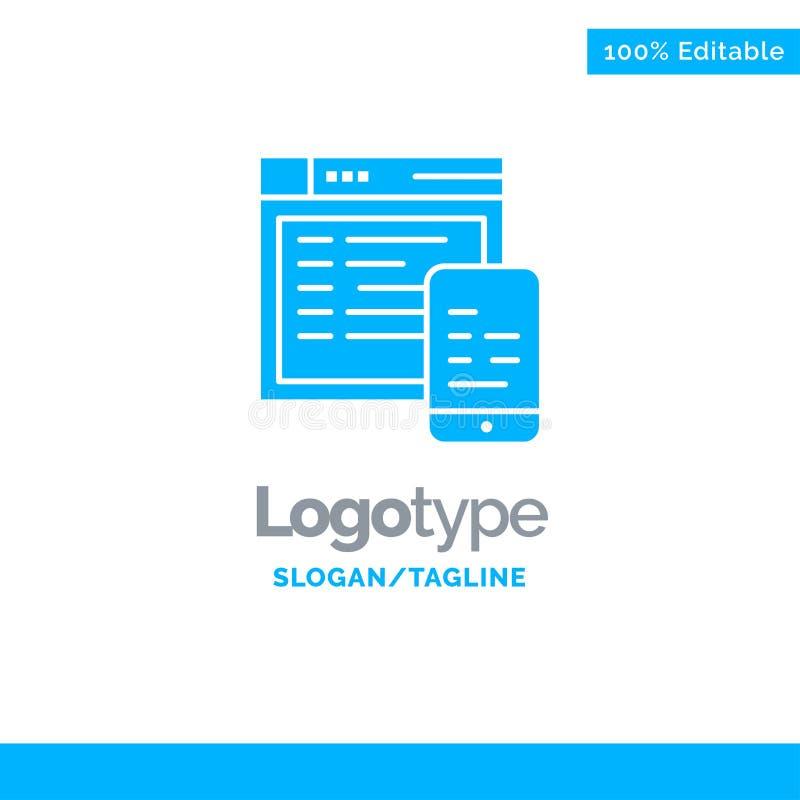 Responsive, Design, Website, Mobile Blue Business Logo Template stock illustration