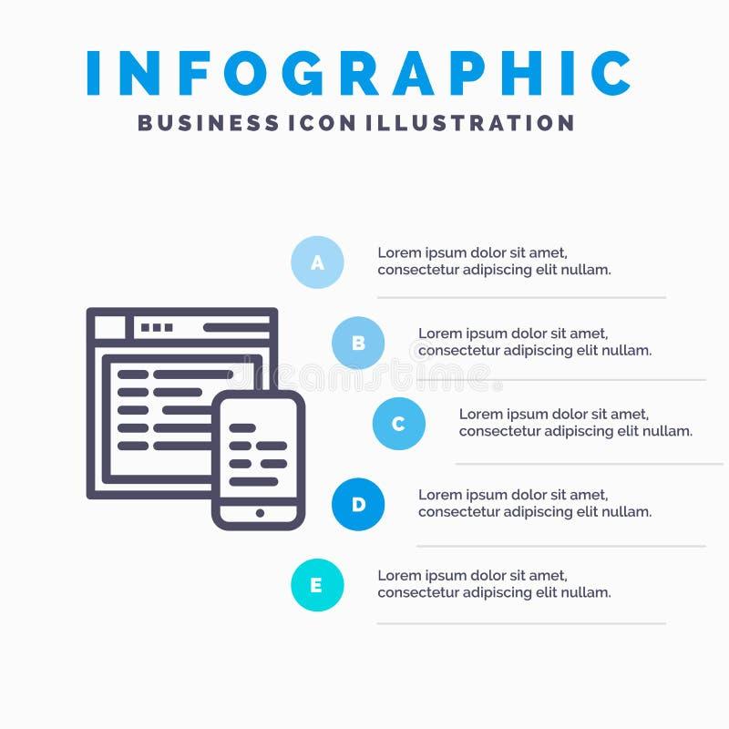 Responsive, Design, Website, Mobile Blue Infographics Template 5 Steps. Vector Line Icon template stock illustration