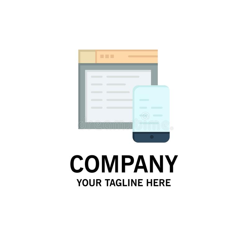 Responsive, Design, Website, Mobile Business Logo Template. Flat Color royalty free illustration