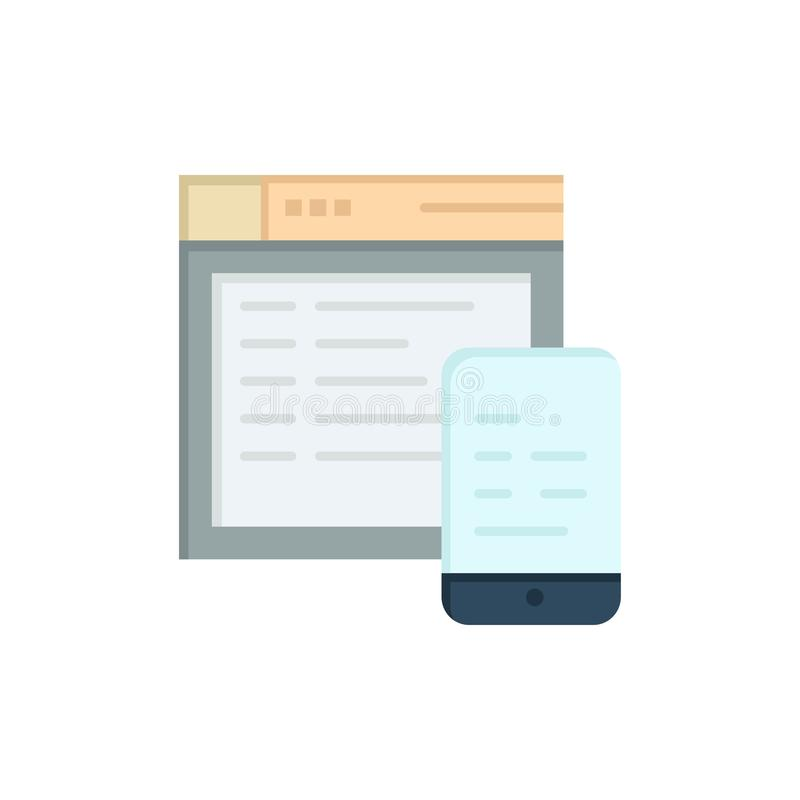 Responsive, Design, Website, Mobile  Flat Color Icon. Vector icon banner Template royalty free illustration
