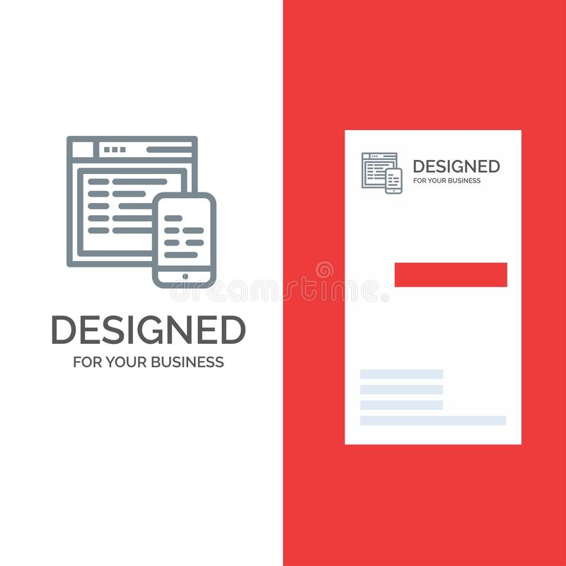 Responsive, Design, Website, Mobile Grey Logo Design and Business Card Template vector illustration