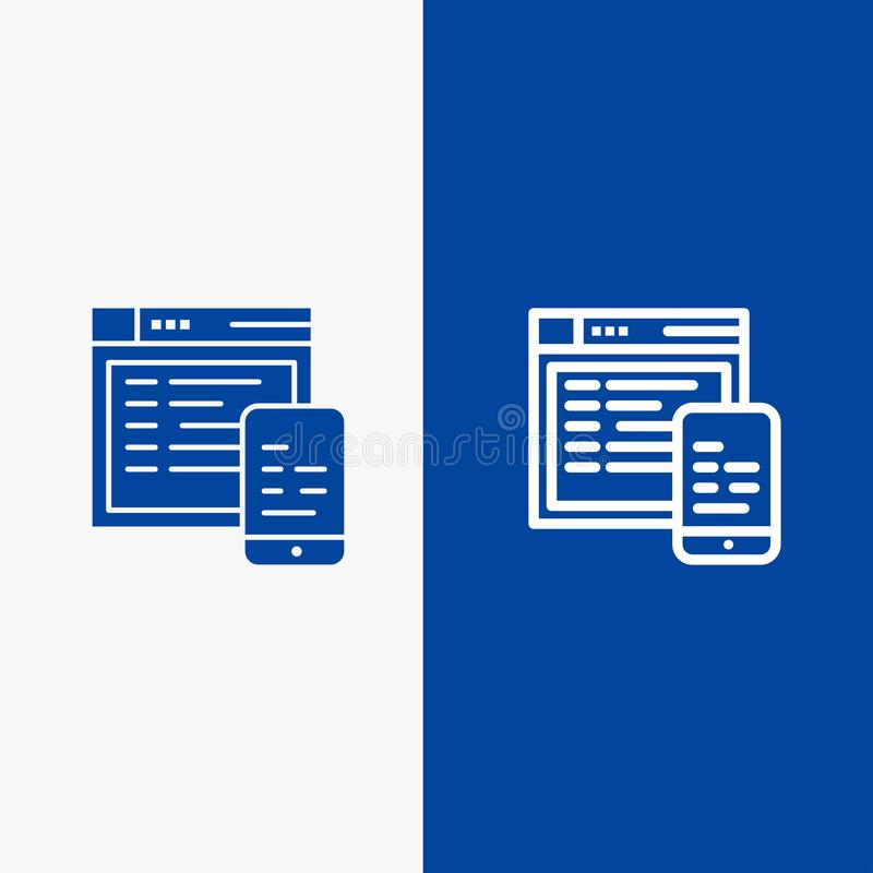 Responsive, Design, Website, Mobile Line and Glyph Solid icon Blue banner stock illustration