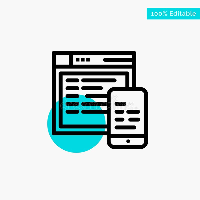 Responsive, Design, Website, Mobile turquoise highlight circle point Vector icon vector illustration