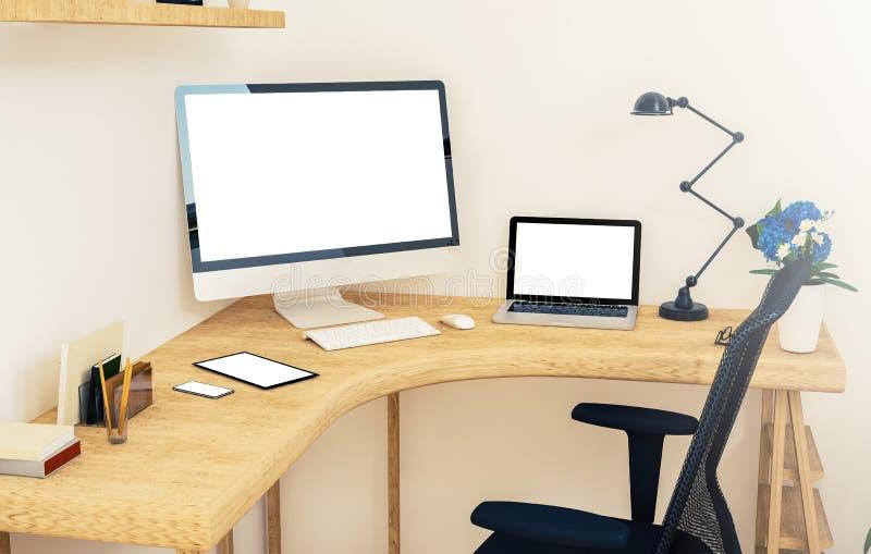 Responsive devices on corner desktop. 3d rendering mockup royalty free stock photo