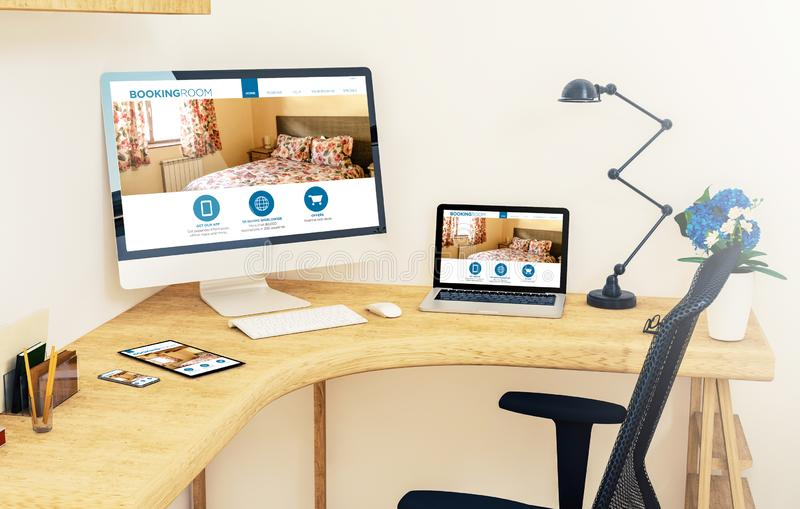 Responsive devices on corner desktop online booking room. Responsive devices on desktop corner showing online booking website 3d rendering mockup royalty free illustration
