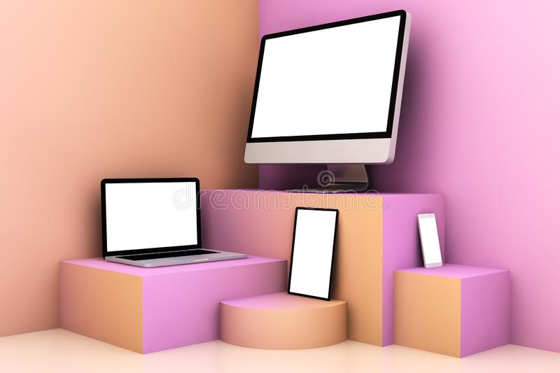 Responsive devices on cream pink and orange scene. 3d rendering mockup stock illustration