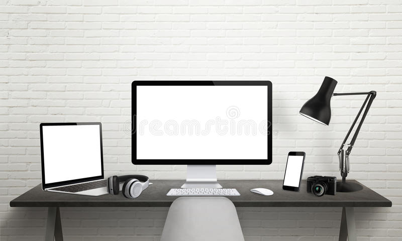 Responsive devices on desk with screen for mockup. Computer display, laptop, tablet and smart phone royalty free illustration