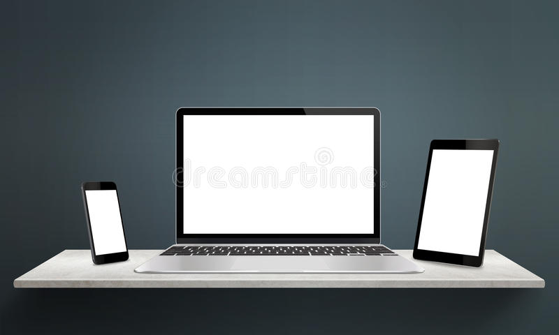 Responsive devices on desk with screen for mockup vector illustration