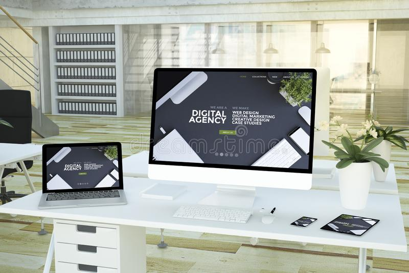 Responsive devices digital agency on studio. Responsive devices digital agency studio 3d rendering royalty free illustration