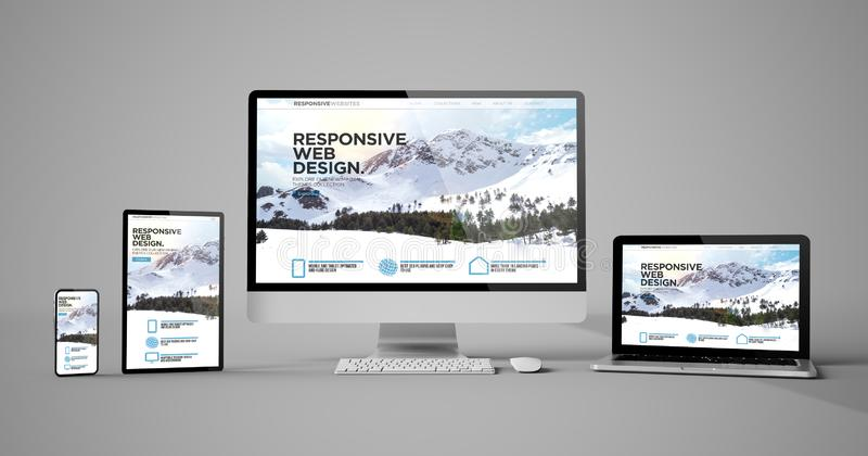 Responsive devices isolated responsive design homepage mountain. Responsive devices responsive web design mountain isolated mockup 3d rendering vector illustration