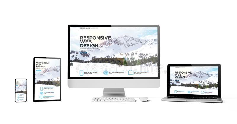 Responsive devices isolated responsive design homepage mountain. Responsive devices responsive web design mountain isolated mockup 3d rendering stock illustration