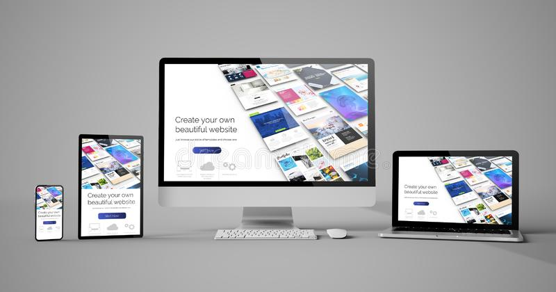 responsive devices isolated design website builder royalty free illustration