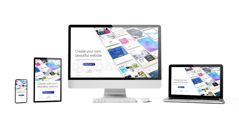Responsive devices isolated design website builder. Responsive devices dwebsite builder isolated mockup 3d rendering vector illustration