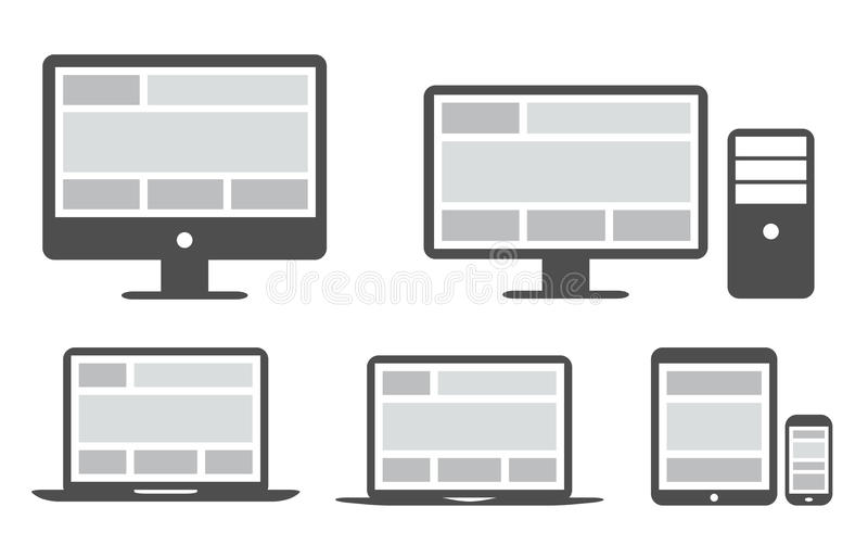 Responsive grid and web design in simplified icons vector illustration