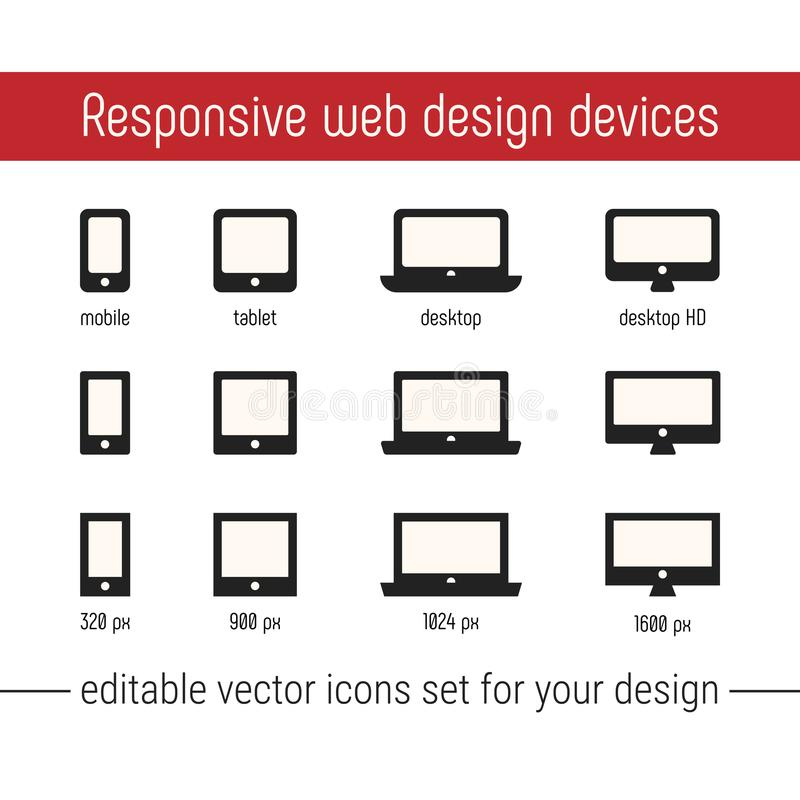 Responsive icon vector images. Flat responsive design icons vector. Responsive icon vector images set for website, app. Design. Responsive design icons vector stock illustration