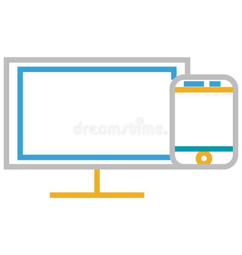 Responsive Isolated Line With Color Vector Icon Editable stock illustration