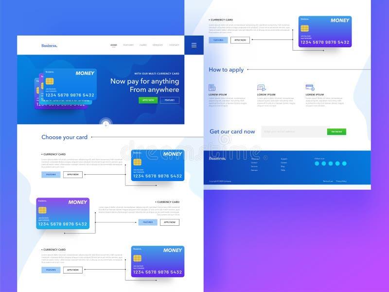 Responsive landing page or banner design with illustration of cr. Edit or debit card for online payment concept vector illustration