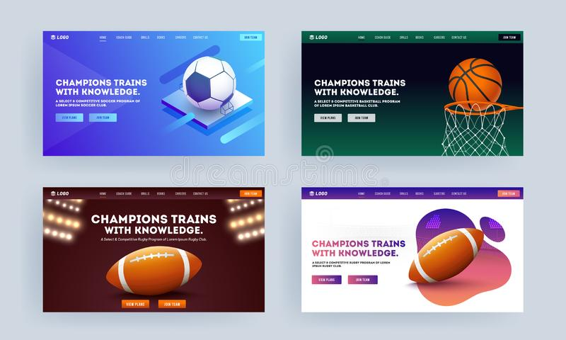 Responsive landing page design with basketball goal, football and rugby ball in four color option for Champion Trains with royalty free stock image