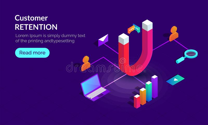 Responsive landing page design for Customer Retention concept wi. Th isometric illustration of magnet connected with business or marketing equipments on blue royalty free illustration