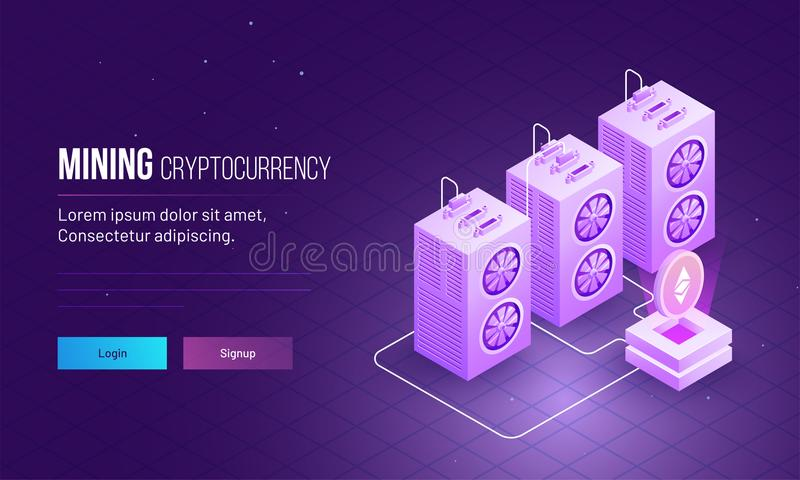 Responsive landing page design with isometric view of ethereum s vector illustration