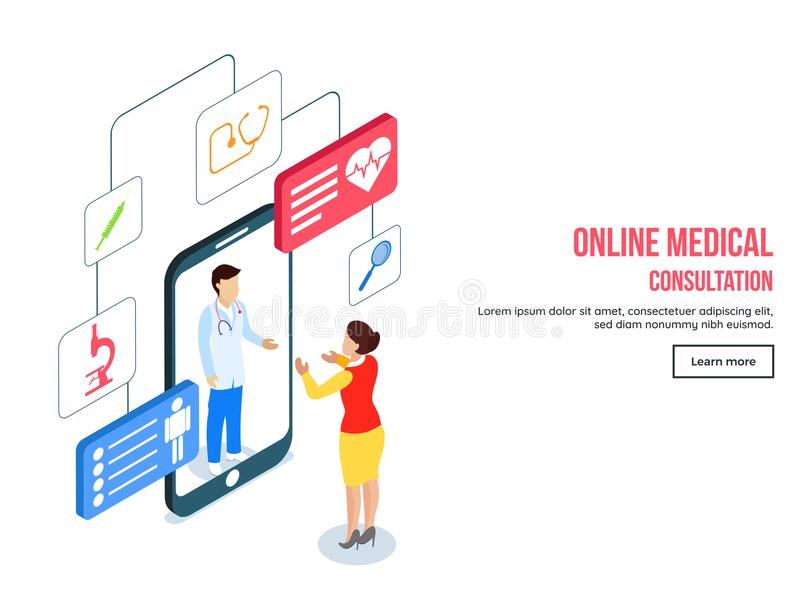 Responsive landing page design with isometric view of online med. Ical consultation with different medical equipment services app for Healthcare concept royalty free illustration