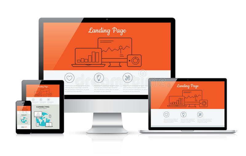 Responsive landing page development vector template illustration stock illustration