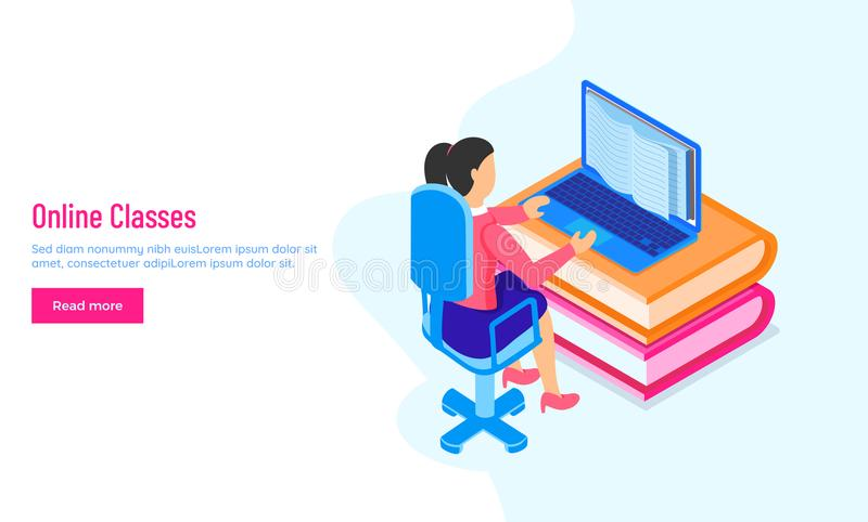 Responsive landing page or hero banner design with a girl character learning online through laptop for Online Classes or royalty free illustration