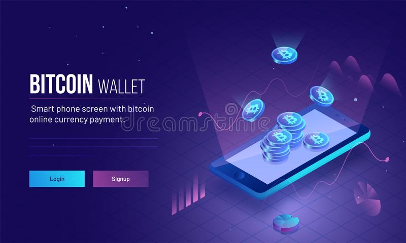 Responsive landing page or hero image for Bitcoin Wallet with 3D isometric illustration of smartphone with glowing bitcoins for v royalty free illustration