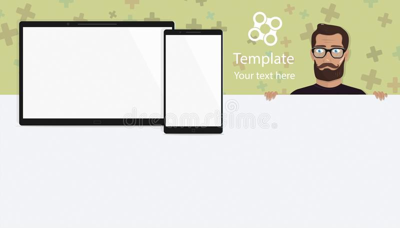 Responsive landing page or one website template. Elements for modern digital tablet PC with mobile smartphone, stylish royalty free illustration