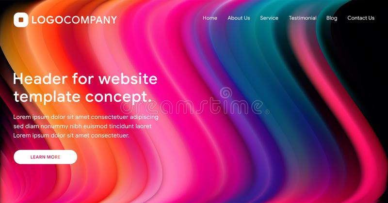 Responsive landing page or web template design with 3D isometric illustration of fluid bright gradient background. Liquid color. Covers set. Fluid shapes vector illustration